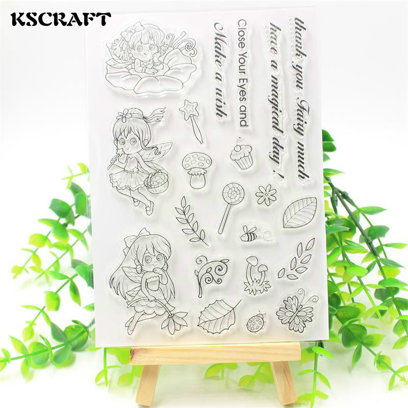 KSCRAFT Little Fairy Transparent Clear Silicone Stamp/Seal for DIY scrapbooking/photo album Decorative clear stamp sheets lovely animals and ballon design transparent clear silicone stamp for diy scrapbooking photo album clear stamp cl 278