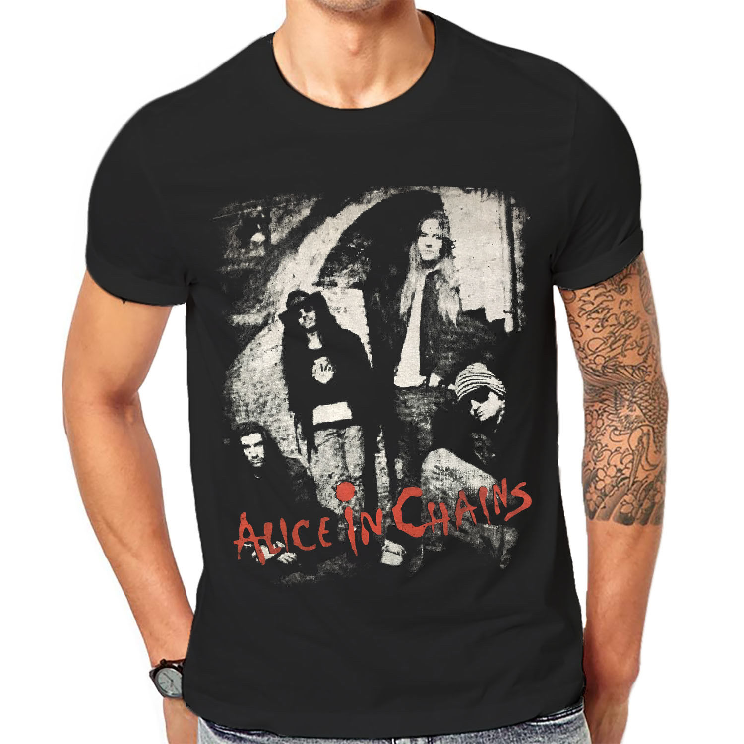 Alice In Chains T Shirt Man Black Graphic Print Hard Rock Band Tee 1-A-181 O-Neck Teenage T-Shirts image