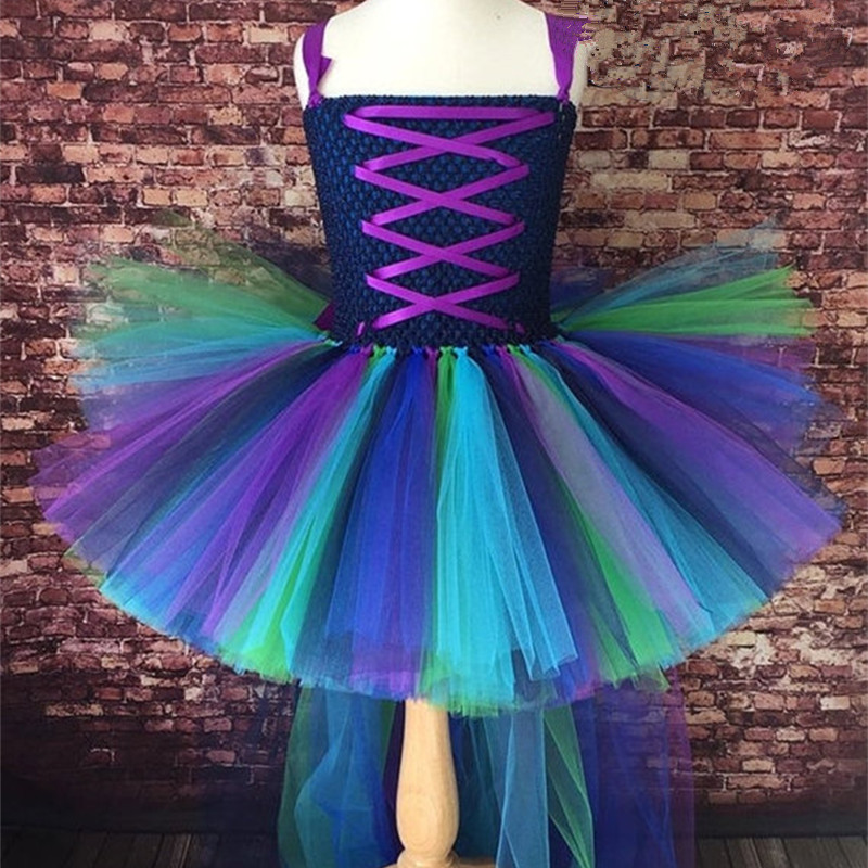 Kids Girls Tutu Dress Cute Peacock Princess Dress Elegant Long Tail Christmas Carnival Party Dress Children's New Dress Clothes princess girls peacock tutu dress