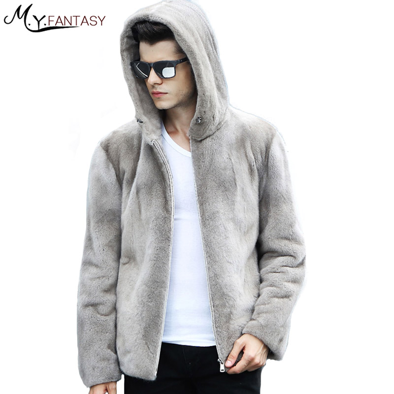 Mink-Coat Long-Sleeve Real-Fur Winter Cool Warm Man Stand Zipper with Hat Handsome M.Y.FANSTY