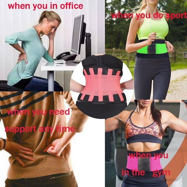 Plus Size S-3XL Firm Waist support belt Sweat Belt Slimming Women waist support unisex back support Fitness waist trimmer 3