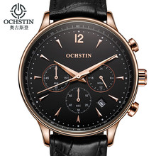 2017 Mens Watches Top Brand Luxury OCHSTIN Men Military Sport Wrist Watch Chronograph Leather Quartz Watch Relogio Masculino