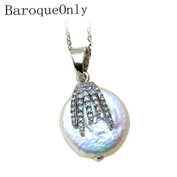 67944d035b48 BaroqueOnly barroco collar con colgante de perlas naturales de agua dulce  AAAA de joyería de circón de 16-17mm 925 plata esterlina 2019 nueva llegada
