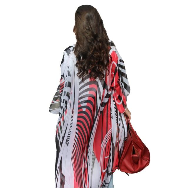 FORERUN Zebra Beach Kimono Cardigan verano gasa playa vestido capa Bikini cubrir Casual largo vacaciones playa