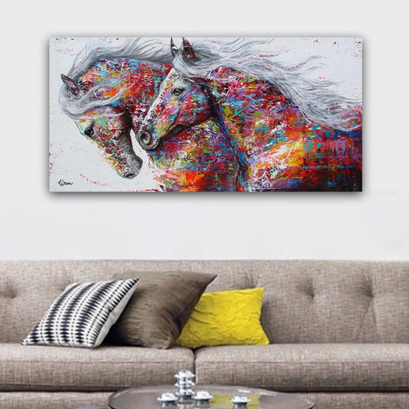 Graffiti Bedroom Art Paint Colors For Bedroom Youth Bedroom Sets Simple Little Boy Bedroom Ideas: Large Printed Graffiti Canvas Art Horse Oil Paintings Wild