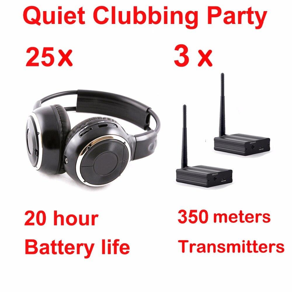 Equipo de auriculares Silent Disco auriculares inalámbricos plegables negros-paquete Silent Party (25 auriculares con 3 transmisores)