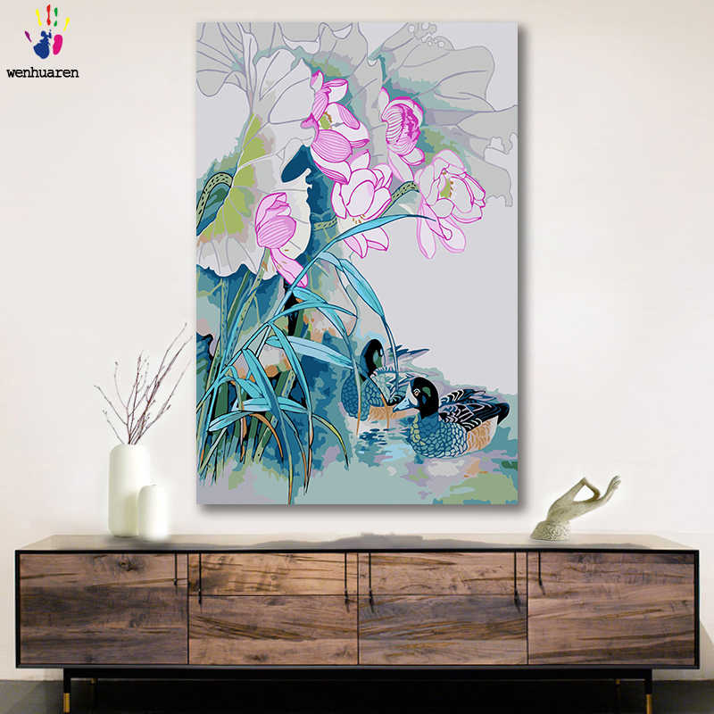 DIY colorings pictures by numbers with colors Chinese style lotus pond moonlight picture drawing painting by numbers framed Home
