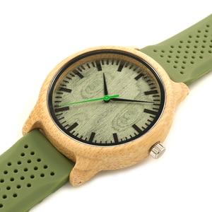 Image 3 - BOBO VOGEL Bambus Männer Uhr Casual Frauen Quarz Uhr Silikon Band reloj mujer marca famosa