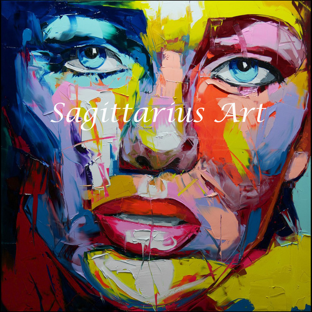 hand painted palette knife modern cool face abstract portraits