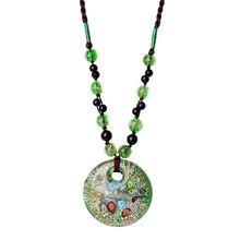 Ethnic style glass sweater chain pendant female long necklace pendant clothes accessories retro simple autumn and winter цена в Москве и Питере