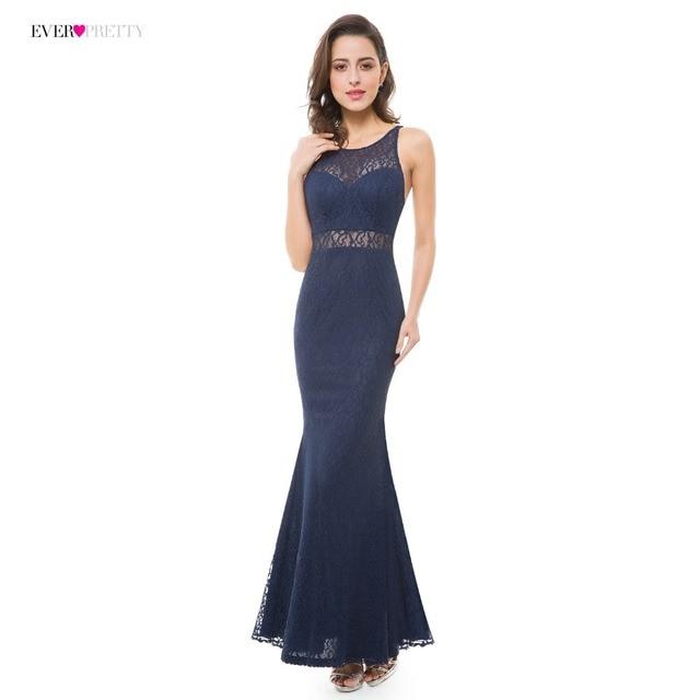 001ccfa51 Vestidos de Noche Azul Marino siempre bonitos EP07033NB encaje Sexy ilusión  hasta el suelo Vestido de