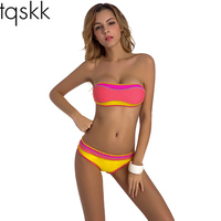 TQSKK 2017 New Crochet Bikinis Women Swimsuit Women Swimwear Sexy Bandeau Brazilian Bikini Set Beach Wear