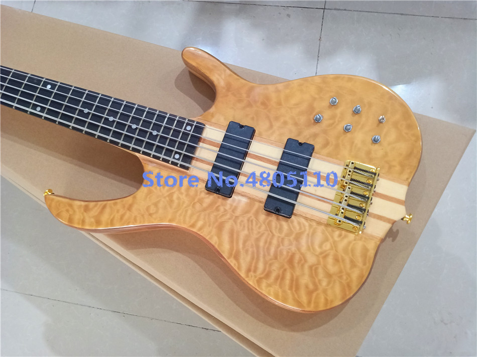 Firehawk new customized version 5 string bass bass guitar gold accessories active closed pickup, can be customizedfree shipping