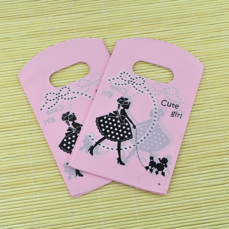Jewelry Packaging & Display Amicable 100pcs Pink Girl With Dog Color Small Plastic Bag 9x15cm Candy Jewelry Gift Packaging Bags Cute Plastic Gift Bags With Handle