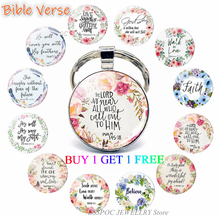 The Lord Is Near All Who Call Ont To Him Bible Verse Psalm Quote Key Chain Glass Jewelry Christian Pendant Keyring Keychain Gift