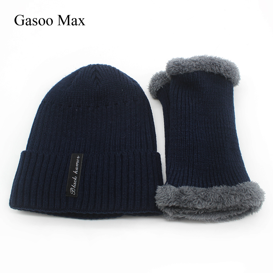 2018 New Neck Scarf Hat Set Winter Warm Beanie Cap Velvet Scarf For Men Drop Shipping& Whosale