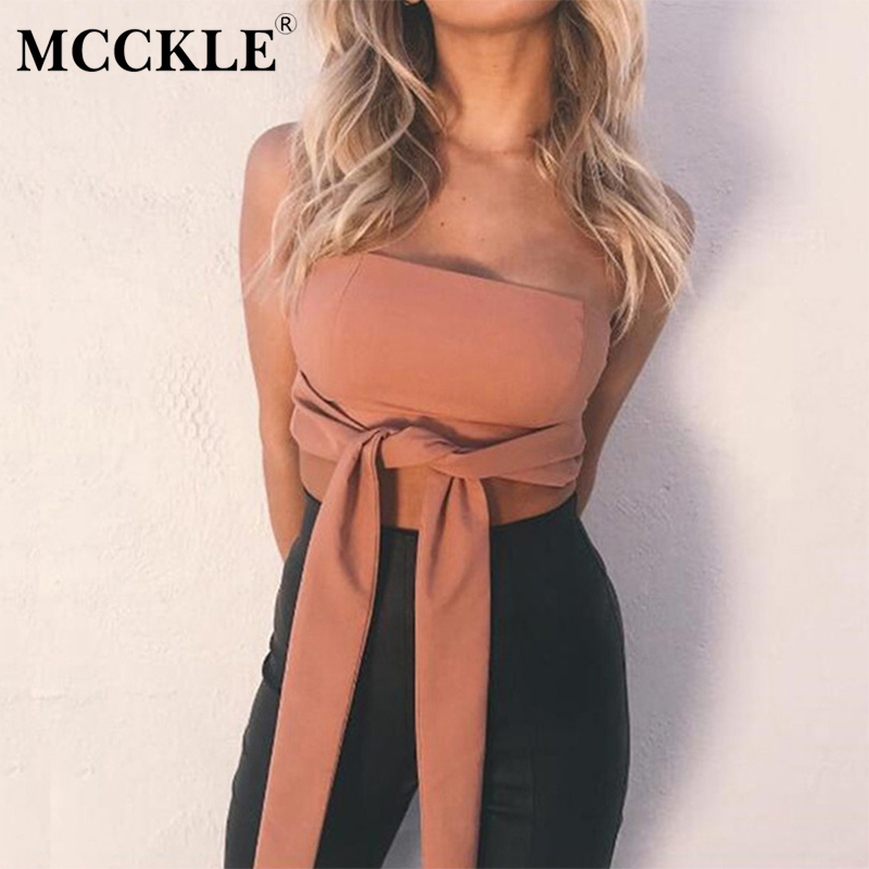 MCCKLE Women Sexy Off Shoulder Tank Tops Strapless Bow Tie Beach Club Female Short Camis Solid Summer Women Slim Chest Wrap Tops
