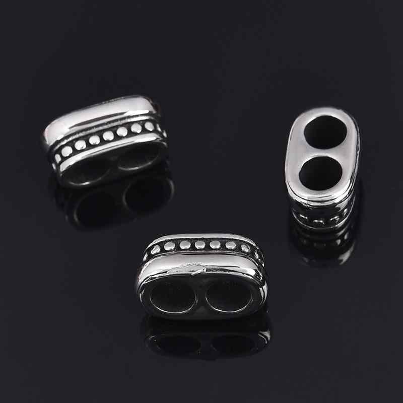 5 pçs de aço inoxidável contas tampas buraco duplo 4/5/6mm contas de extremidade para diy pulseira colar artesanal jóias fazendo contas descobertas