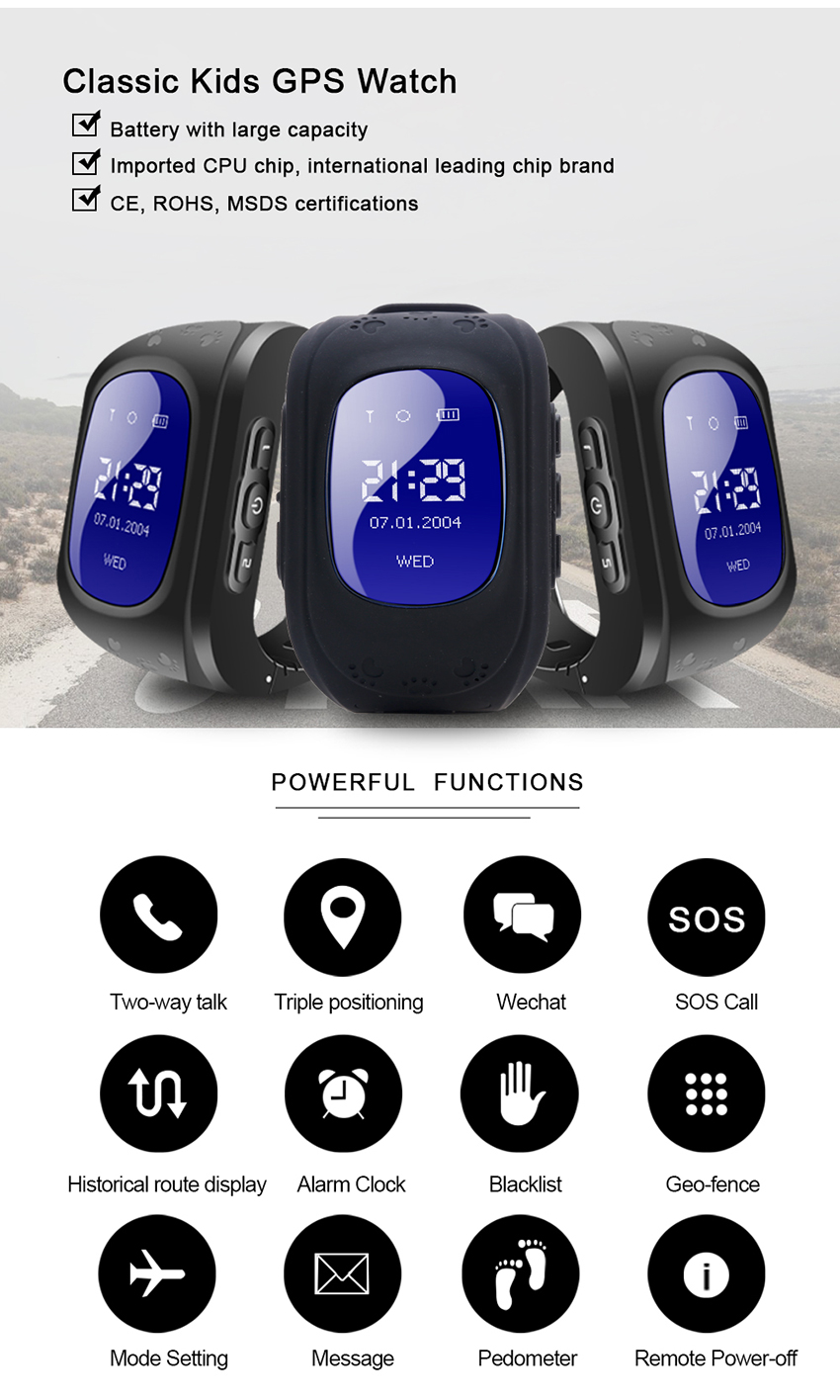 Q50 OLED Screen GPS Smart Kid Watch SOS Call Location Finder Locator  Tracker for children Anti Lost Monitor Baby Wristwatch