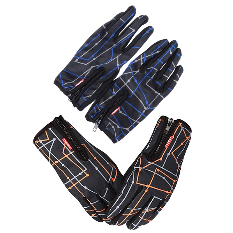 1 Pair of Winter Gloves Windproof Touch Screen Cycling Glove Mittens Outdoor Winter Warm Fullfinger Zipper Bicycle Gloves