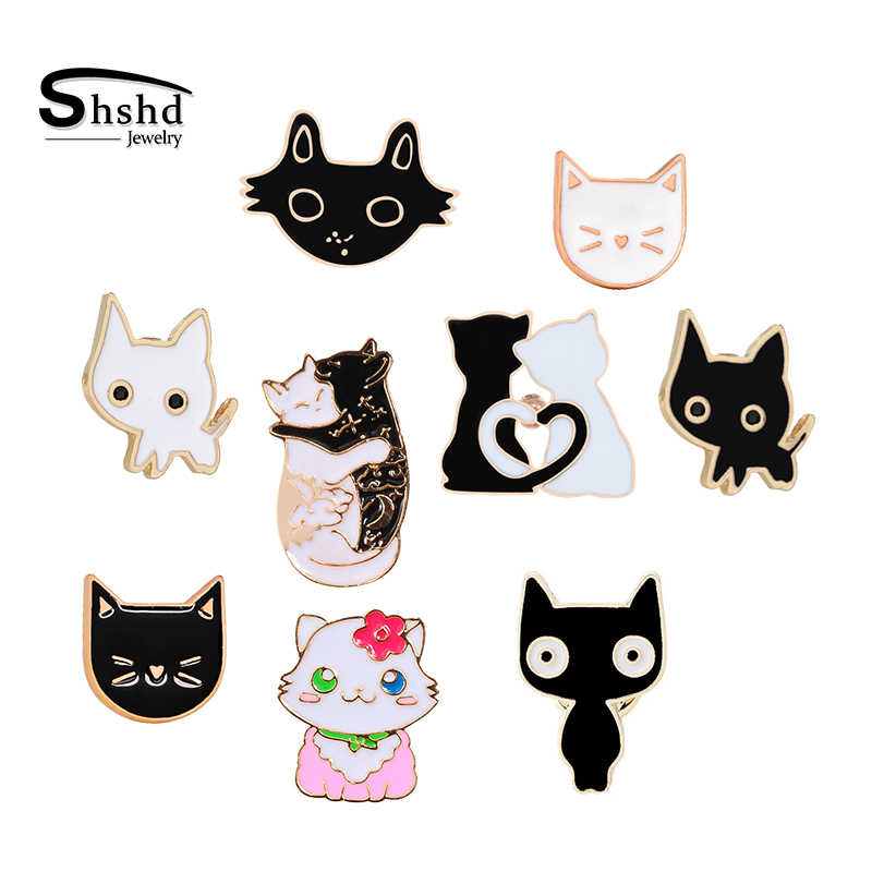 Black White Cat Face Enamel Pins Collection Cute Cartoon Kitten Brooch Jackets Lapel Pin Kitty Badges Lover Jewelry Dropshipping Aliexpress