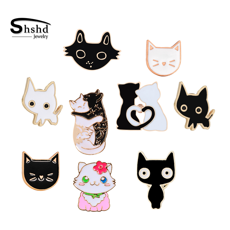 Black White Cat Face Enamel Pins Collection Cute Cartoon Kitten Brooch Jackets Lapel Pin Kitty Badges Lover Jewelry Dropshipping