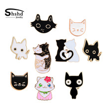 Hitam Putih Cat Enamel Koleksi Lucu Kartun Kucing Bros Jaket Kerah Pin Kitty Lencana Perhiasan Kekasih Dropshipping(China)