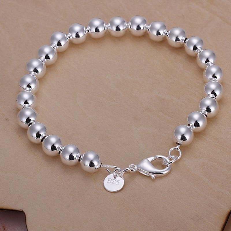 Оптовая продажа, высококачественные модные ювелирные изделия серебряного цвета, очаровательные браслеты с бусинами-цепочками 8 мм, H126, брас...