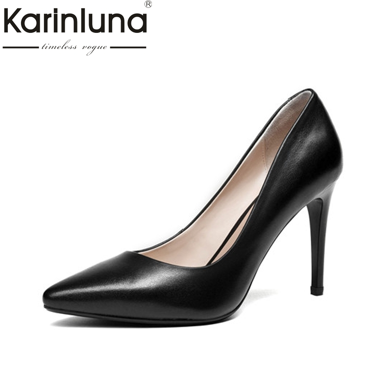 Karinluna Women's Patent Leather Party Wedding Shoes Woman Sexy Pointed Toe High Heels Less Pumps Size 34-39 best aaa quality for iphone 5 5c 5s lcd touch screen digitizer full set assembly white and black color with fast shipping