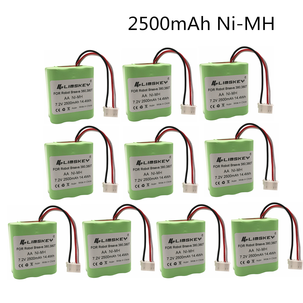 7.2Volt New 2.5Ah 2500mAh Ni-MH 7.2V Rechargeable Battery For IRobot Roomba Braava 380 380T High Quality