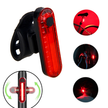 USB Rechargeable Bike Taillight LED Bicycle Light Waterproof MTB Road Safety Warning Red Cycling Lamp with Built-in Battery