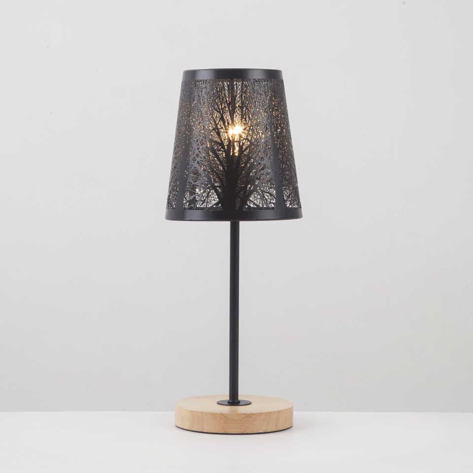 Small Bedside Lamp with Wood Base Black Metal Stick and Hollow Lampshade E14 Table Lamp for Bedrooms Office Girls Room Dorm, Din