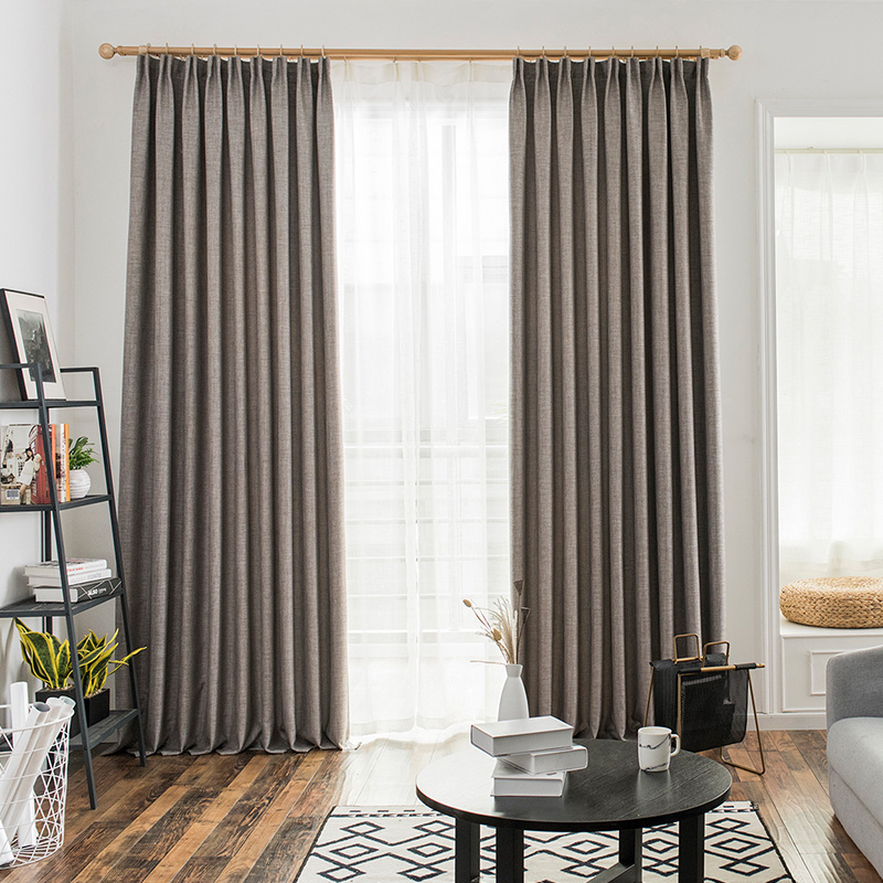 Bedroom Curtains Solid Color Japan Window Shades Imitation: Solid Color Style Fabric Faux Linen Blackout Curtains For