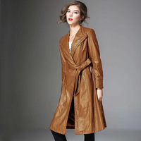 High End New 2018 Autumn Leather Coats Women Winter Long Pu Leather Large Size Women S