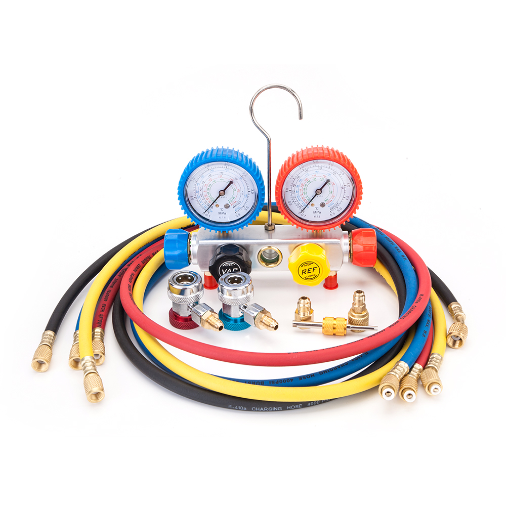 R410 R134 R22 R407C Dual Manifold Gauges Valve Set with Black Plastic Case Red Yellow Blue