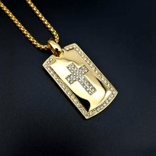 Big Cross Necklace Gold Color 316L Stainless Steel with zircon Bible Cross Pendant & Chain For Men HipHop Jewelry Christmas Gift(China)
