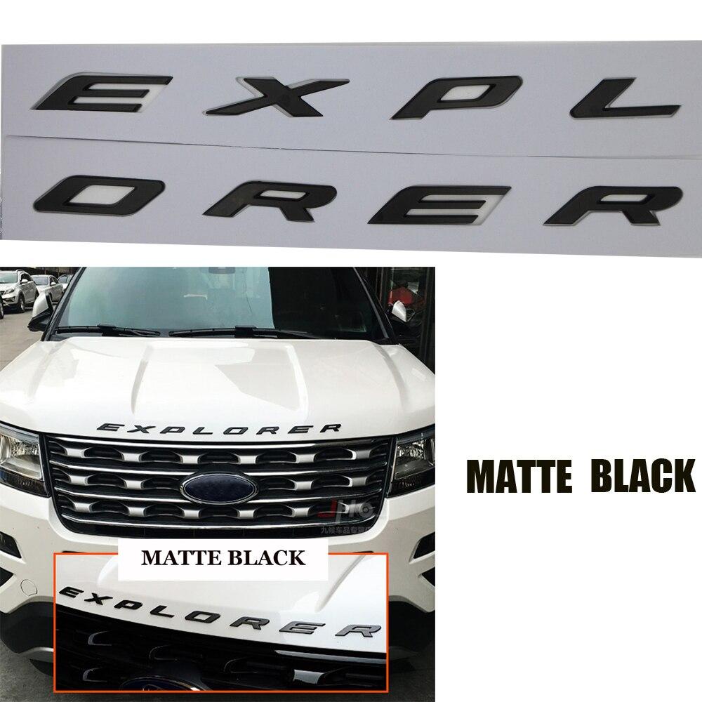 DIY Black Graphite Gloss Matte Silver Hood Emblem 3D Fixed Letter Logo Sticker For Ford Explorer 2011 2012 2013 2014 2015 2016
