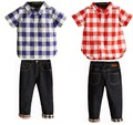 Good quality  factory directly  Europe and America style clothes set,plaid shirt + jeans casual two-piece,free shipping
