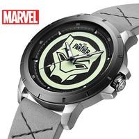 2019 neue Marvel Avengers Schwarz Panther Leucht Wasserdicht Männer Quarzuhr Luxus Top Marke Disney Uhren Leder Band Uhr Quarz-Uhren    -