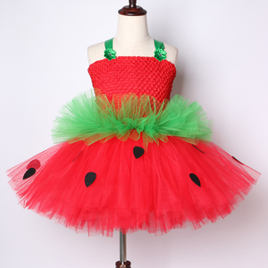 Image 2 - Cute Strawberry Tutu Dress Red Green Tulle Flowers Princess Girls Birthday Party Dress Children Kids Christmas Halloween Costume