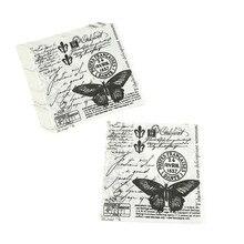 Винтажная декупажная пищевая бумажные салфетки, салфетки для свадьбы, дня рождения, вечеринки, Декор, 33x33 см, 20 шт, черная бабочка