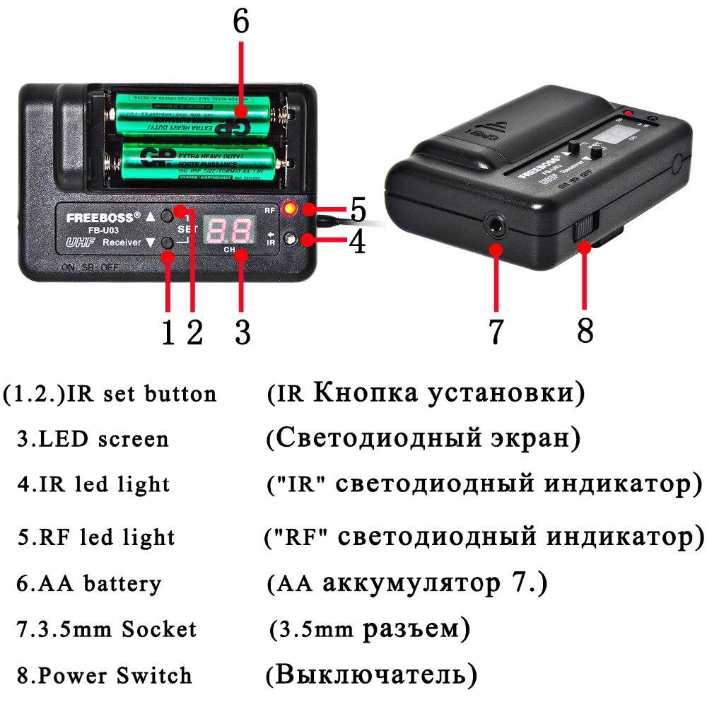 FREEBOSS FB-U03-2P 1 Way 100 ալիք Handheld հաղորդիչ - Դյուրակիր աուդիո և վիդեո - Լուսանկար 3