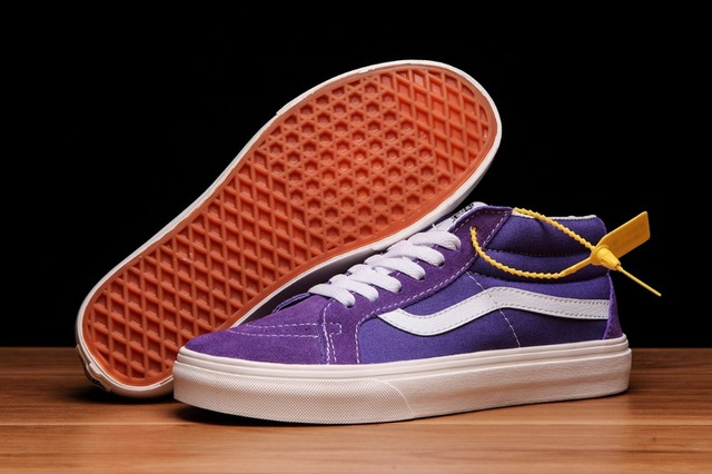 67584a4743 Original Vans Sk8-Hi Decon Classic Skateboarding Shoes Purple mid-shoes  Canvas Shoes Weight lifting shoes size 36-44