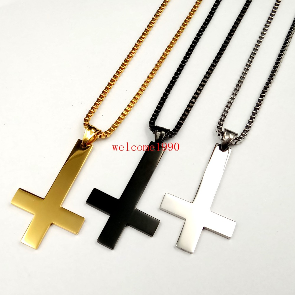 Men//Women Jewelry Stainless Steel Charm Cross Necklace Pendant With Chain Gift