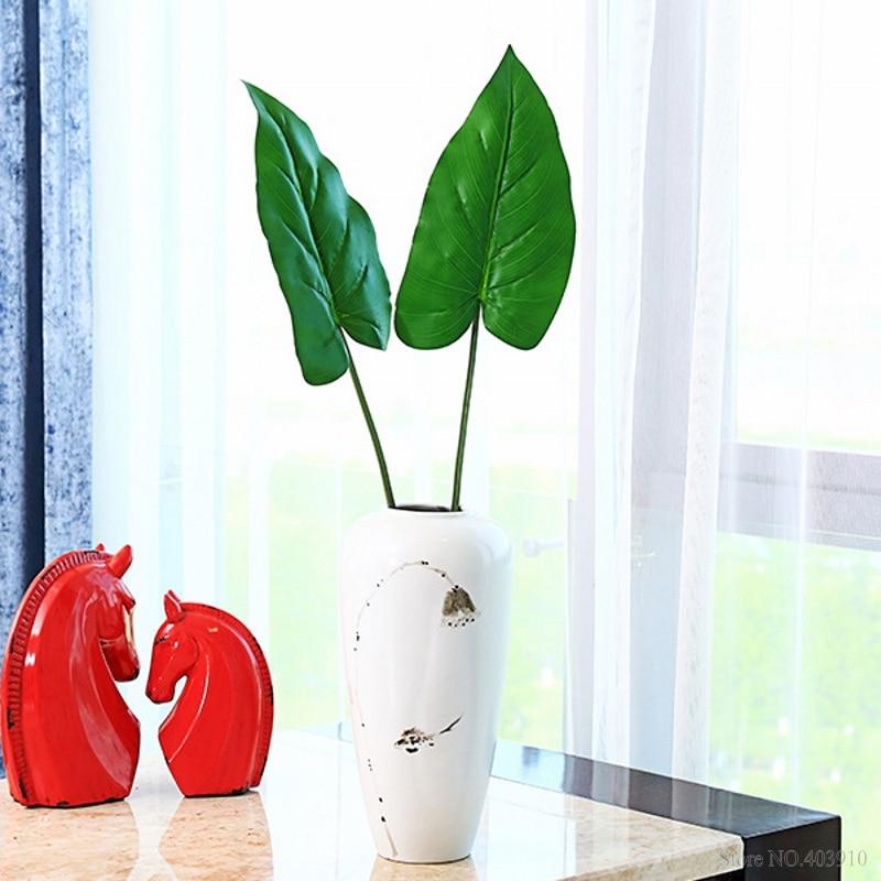 1 Pz Tocco Reale Grandi Palm Tree Branch Tartaruga Foglia Artificiale Pianta Verde Fiore Decorativo Per La Decorazione Della Tavola Foglie Tropicali