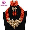Orange coral perlas joyería nupcial conjunto de lujo dubai chapado en oro conjuntos de joyas para la boda de nigeria africano envío libre wd269