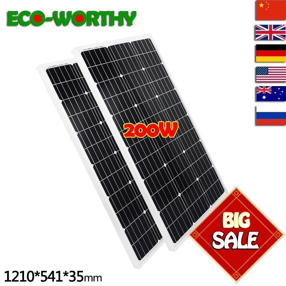 2 pièces 100 W 18 V Monocristallin Solaire panneau de puissance pour 12 V Batterie, accueil système Solaire Power & Livraison Gratuite cellule photovoltaïque 12V100W