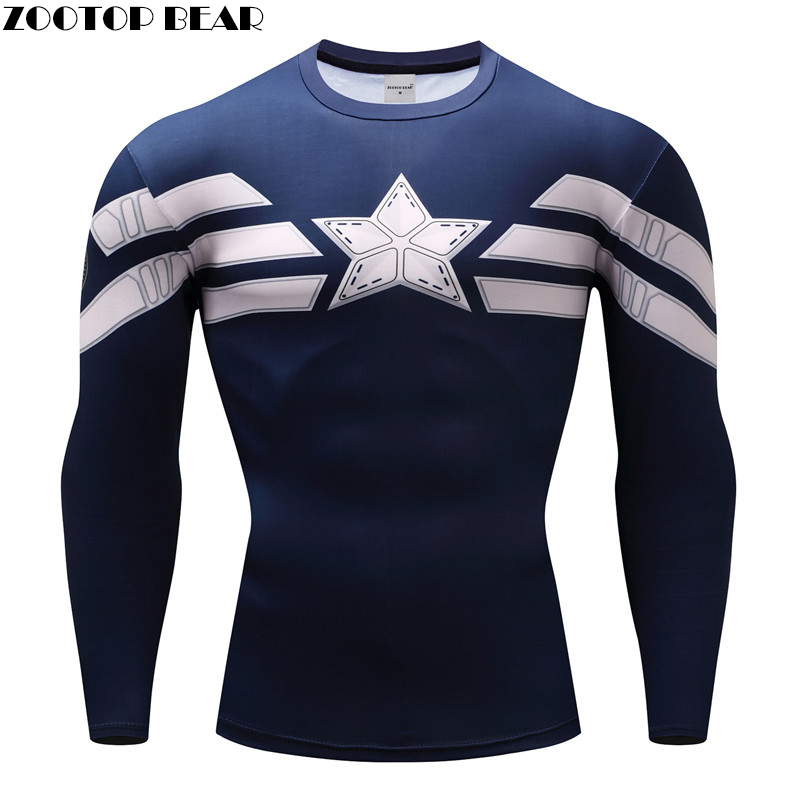 Captain American T shirts Compression Men T-Shirts Fitness Bodybuilding Tops 3D Printed Funny Long Sleeve Tees Crossfit Camiseta