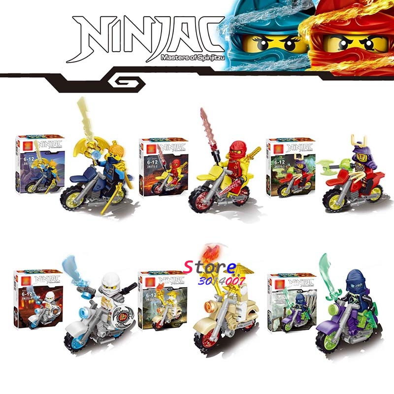 6pcs star wars Ninja Motorcycle Spinjitzu Training Kai Cole Jay Lloyd Nya Zane building blocks model bricks toys for children 2017 new single ninja movie nadakhan dogshank kai jay cole zane nya lloyd building brick toys x0112 x0118