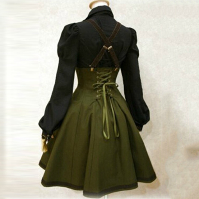 2018 Gothic Dress women  autumn  army green strap dress Women Goth  Dress A-Line Fashion vintage Goth Dress 1